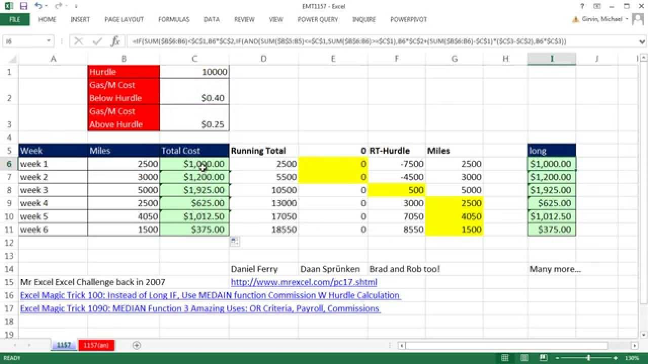 Excel Magic Trick 1157: Running Total Jumps Over Hurdle & Gas Cost ...