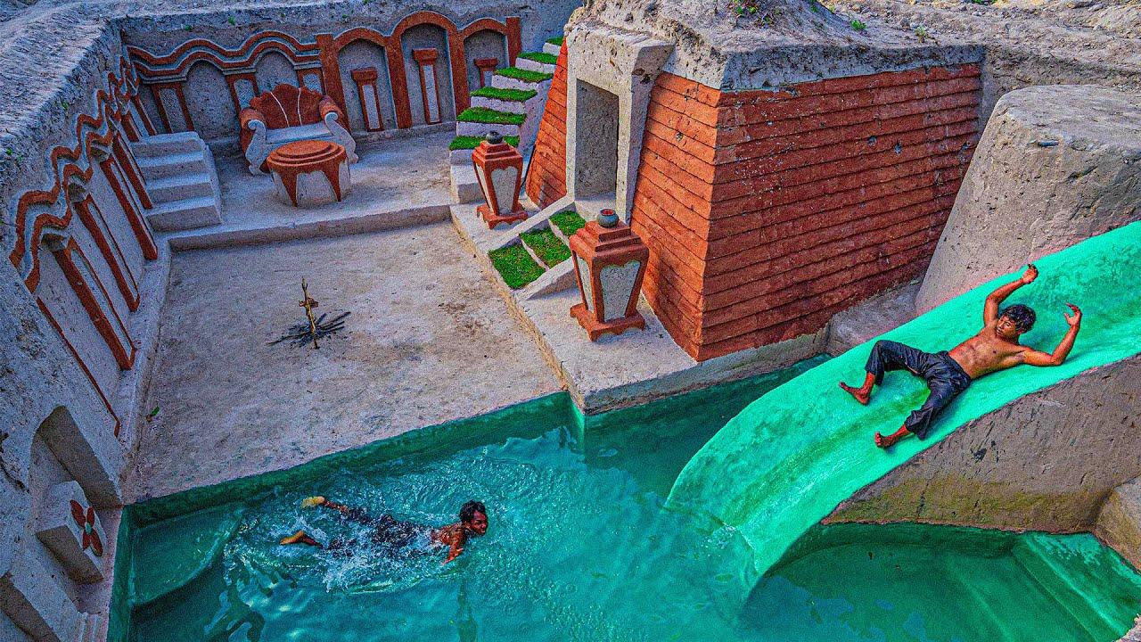 75 Days Built Amazing Underground Water Slide Swimming Pool House