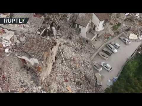 Pescara del Tronto Ruins: Drone buzzes earthquake zone in Italy