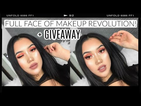 THE BEST DRUGSTORE MAKEUP EVER!!! : 100% Full Face Of Makeup Revolution Products + GIVEAWAY