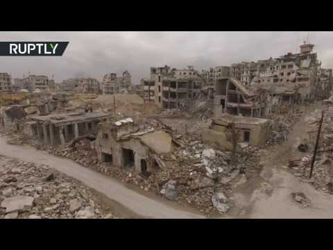 Drone captures the destruction of Aleppo