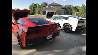 Red 2018 Grand Sport vs White 2018 Z06 Corvette