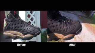 Cleaning an excessively ashy pair of Suede Jordan 13 olive's