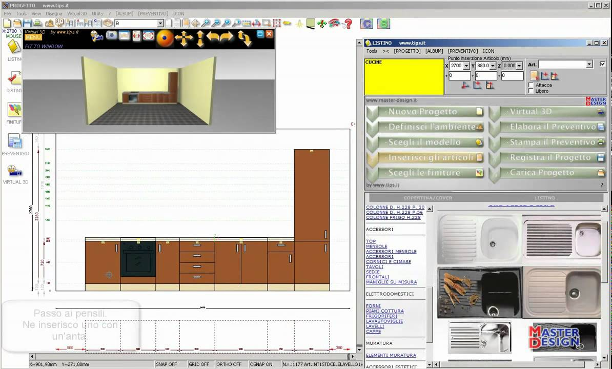 Master-Design. Progettazione di una Cucina lineare. by www.tips.it.