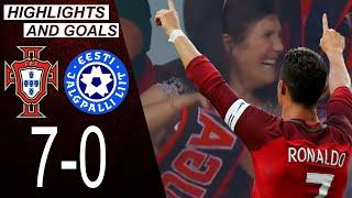 Portugal vs Estonia 7 0 Highlights Goals Cristiano Ronaldo celebrates a goal for his mother