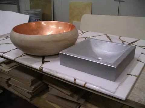 Travertino marble - Sink and basin covered with silver and gold film
