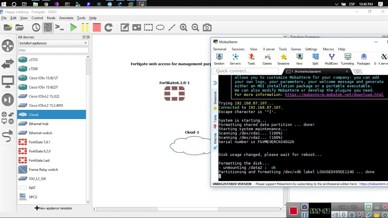 Installing a Fortigate in GNS3 with web access