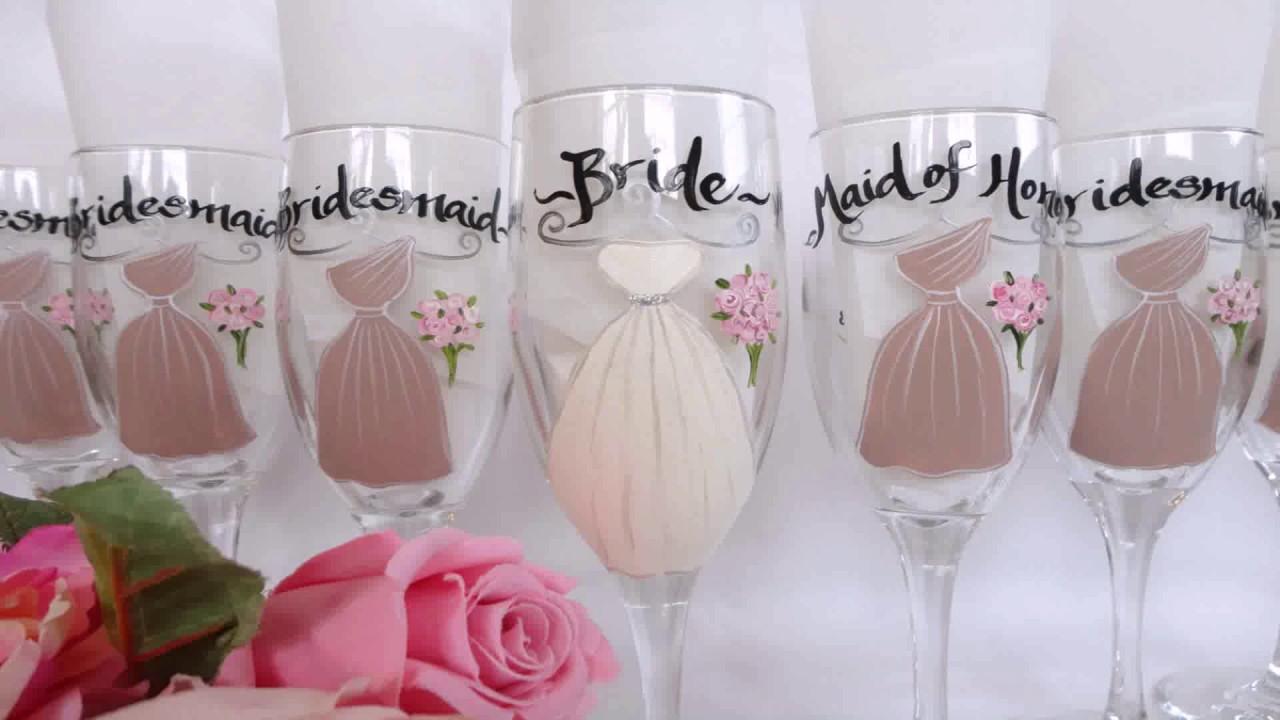 diy painted bridesmaid wine glasses youtube