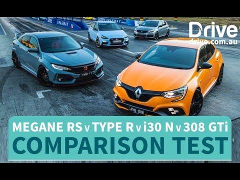 Hot hatch comparison Renault Megane RS v Honda Civic Type R v Hyundai i30 N v Peugeot 308 GTi