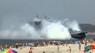 Russian navy military hovercraft ploughs into crowded beach - Russian epic FAIL