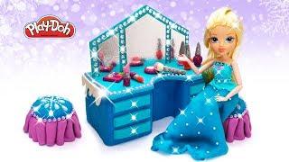 Play Doh Dollhouse Set. DIY Dollshouse Makeup Dressing Table for Dolls