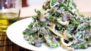 Салат со стручковой фасолью и шампиньонами
