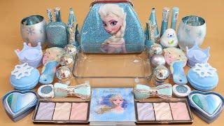 Mixing'Elsa'Eyeshadow,Makeup and glitter Into Slime!Satisfying Slime Video!★ASMR★