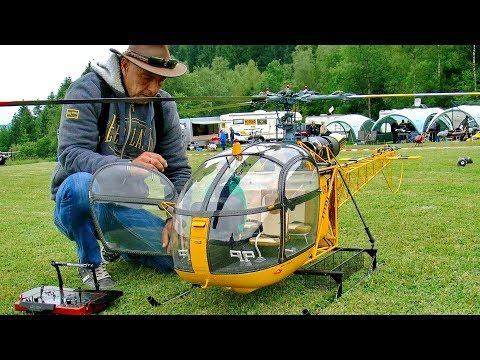 HUGE XXL RC TURBINE MODEL HELICOPTER ALOUETTE II SA318 C DEMO FLIGHT VARIO TEAMPILOT FRANCIS PADUWAT