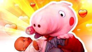 Vidéo pour enfants. L'école des mamans № 1: Peppa Pig berce Bébé born Annabelle