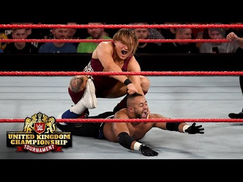 Pete Dunne uses the steel ring steps to hurt Roy Johnson: WWE United Kingdom Championship Tournament