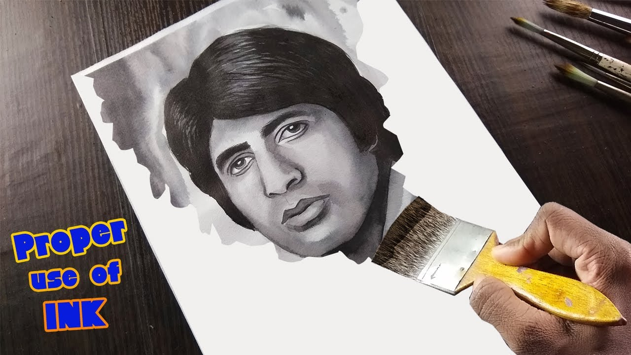 Amitabh Bachchan Drawing with Ink   Proper use of Ink✒️