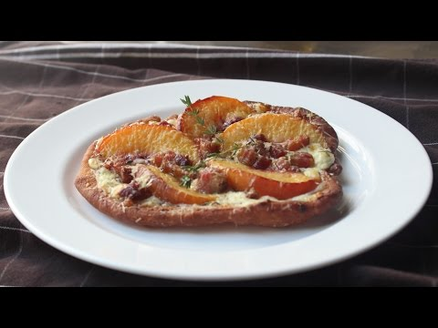 Fried Peach & Pancetta Pizza - Fried Pizza Dough topped with Peaches and Pancetta