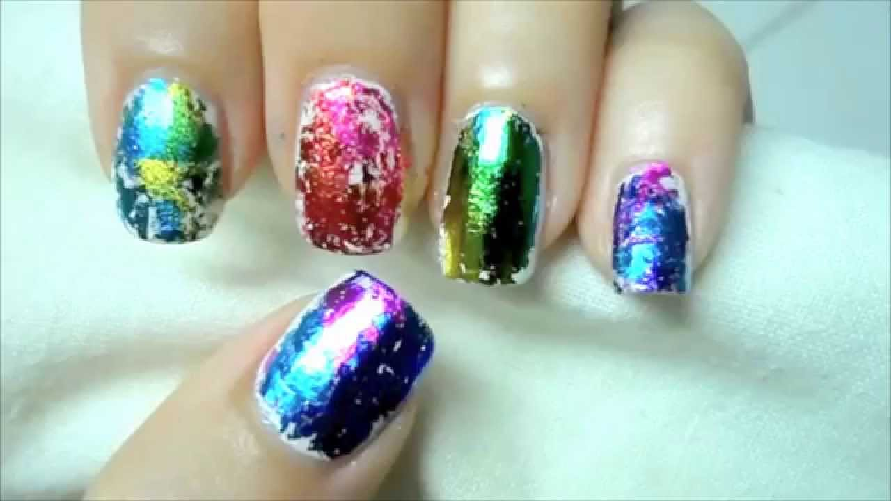 easy holographic nail art \