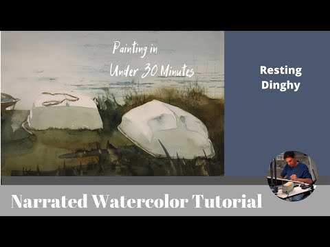 "watercolor-tutorial,-""resting-dinghy"""