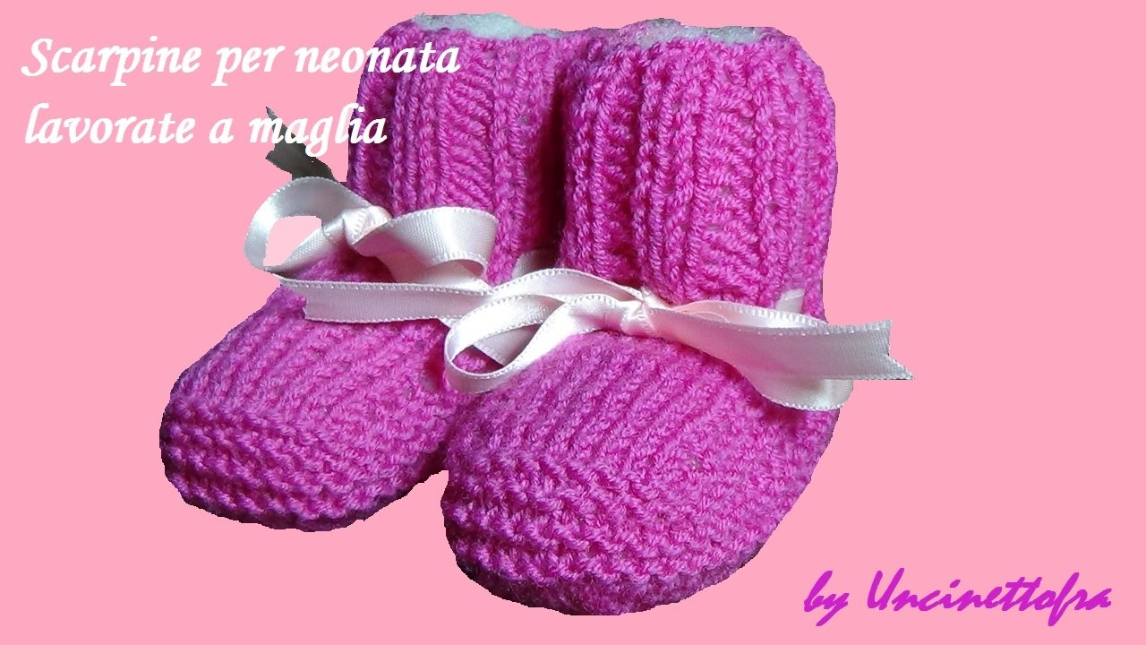 Scarpine Per Neonata Lavorate A Maglia Knitting Baby Booties Youtube