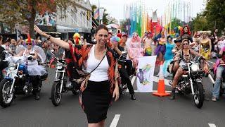 New Zealand PM Jacinda Ardern joins gay pride parade