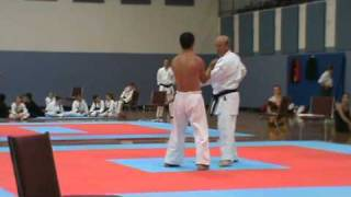 Kiyohide Shinjo performs Sanchin Test on Sensei Manuel Desa