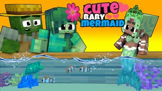 Monster School : ADOPTED BABY MERMAID BY ZOMBIE FAMILY   CUTE ANIMATION