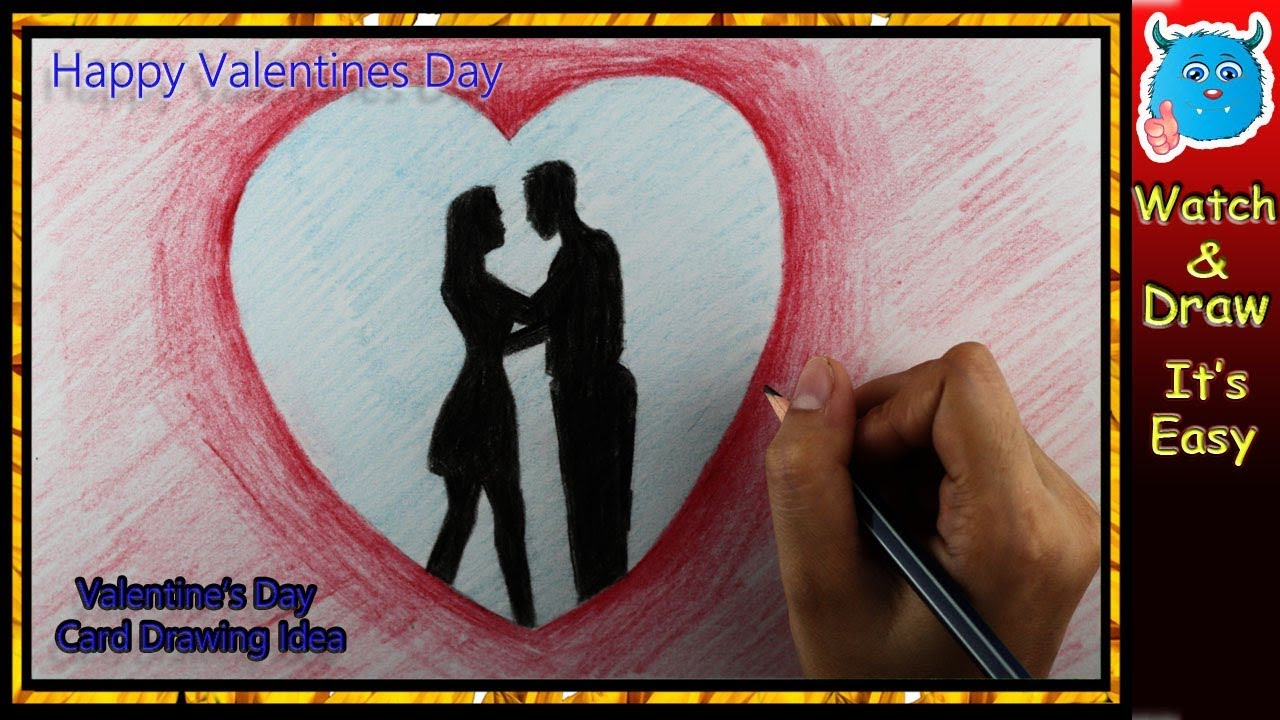 Valentine Couple Drawing For Crafts Cards Easy Youtube
