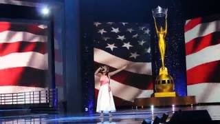 Miss America 2017 - 9 year old Sings AMAZING National Anthem!!
