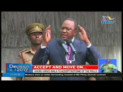 President Uhuru Kenyatta urges Raila Odinga to accept outcome of the polls