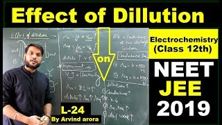 (L-24)Effect of dilution on Conductance/conductivity/Molar & Equivalent Conductivity By Arvind Arora