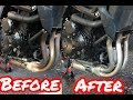How to clean motorcycle exhaust pipes / headers / Harpic bleach / Suzuki / time-lapse
