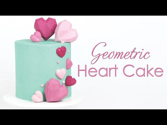 Geometric Cake Heart - Buttercream Cake Tutorial