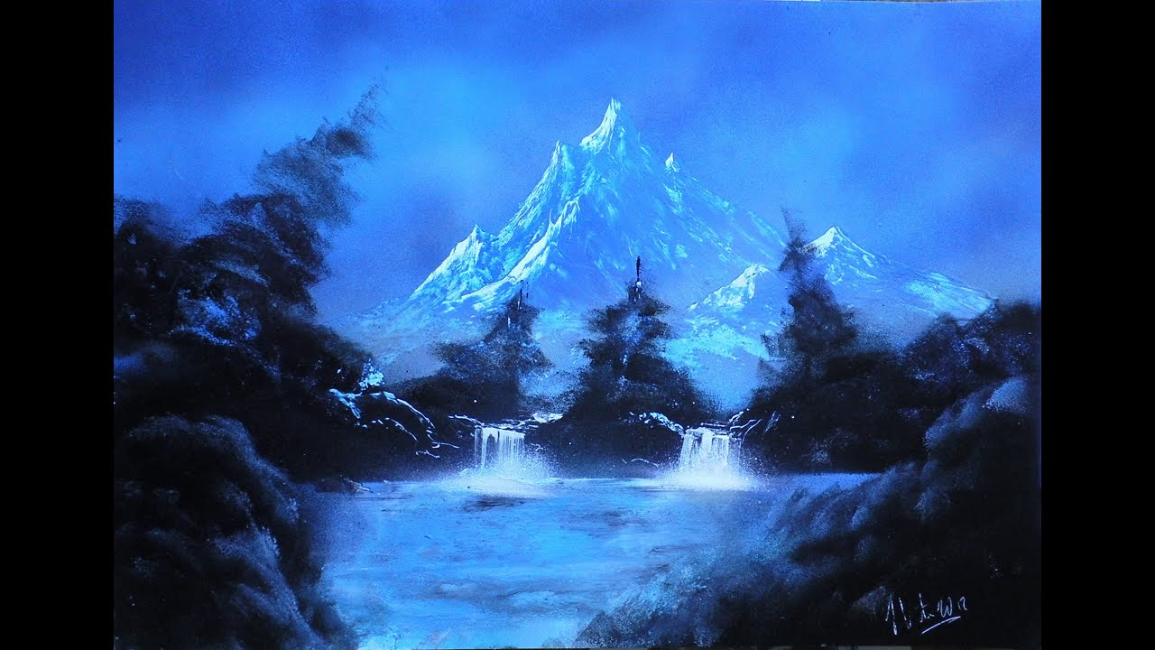 mountain lake spray paint art youtube. Black Bedroom Furniture Sets. Home Design Ideas