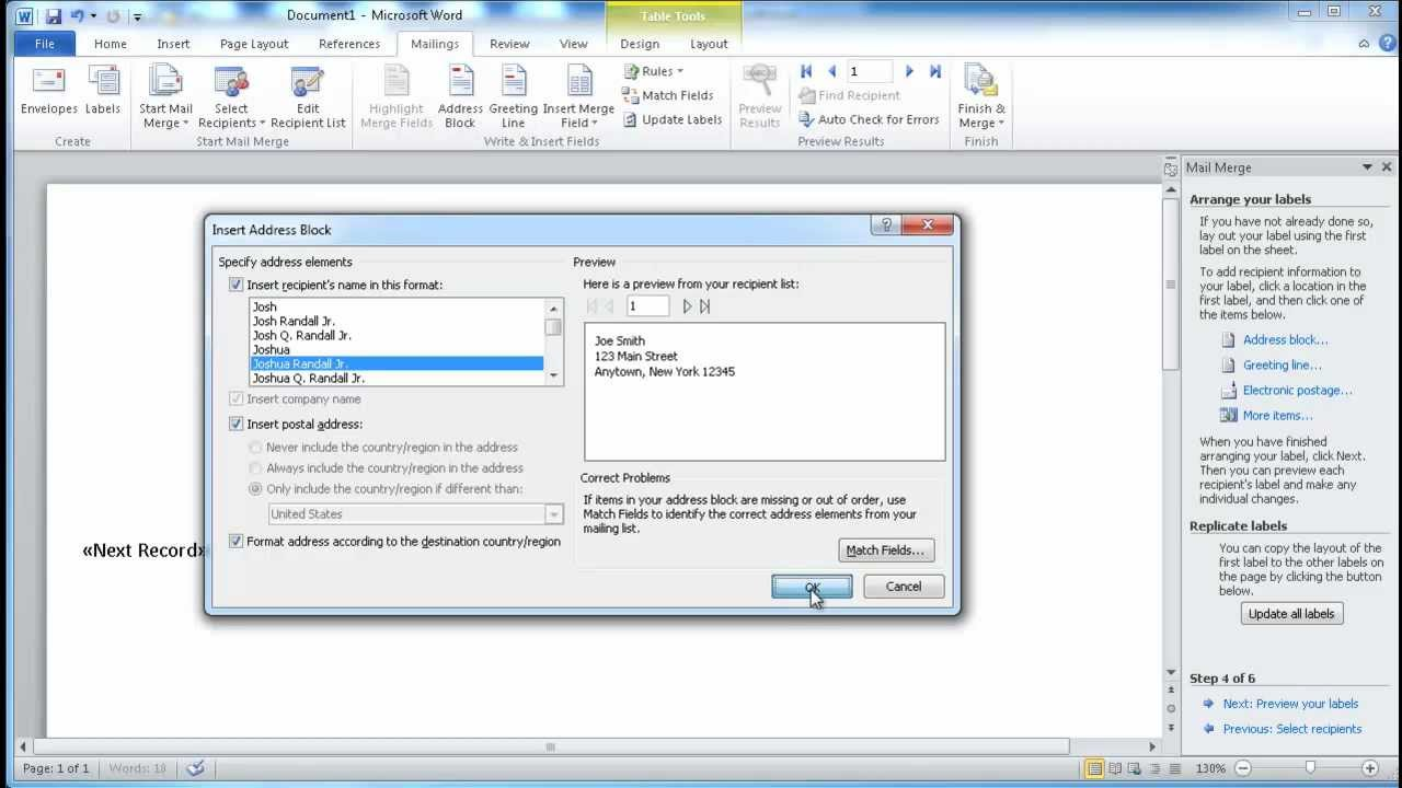 Create Mailing Labels with Excel and Word - YouTube
