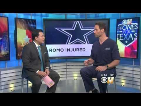 Cowboys Quarterback Tony Romo's fractured back   Dr. John Michels explains live at CBS studios