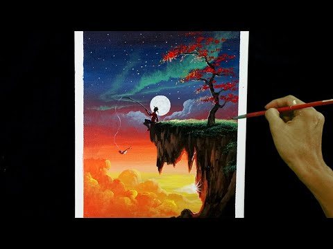 Easy Acrylic Painting Tutorial   Sunset and Moon Rise with Boy Fishing