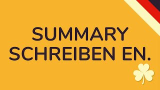 SUMMARY SCHREIBEN ENGLISCH   inkl. Beispielsätze & Raster (animiert) 🇩🇪