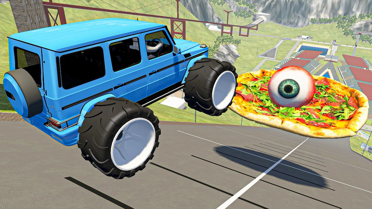 BeamNG Drive Epic Death Falls Jump Crashes Over Pizza with Eye | Satisfying Cars Crashes Compilation