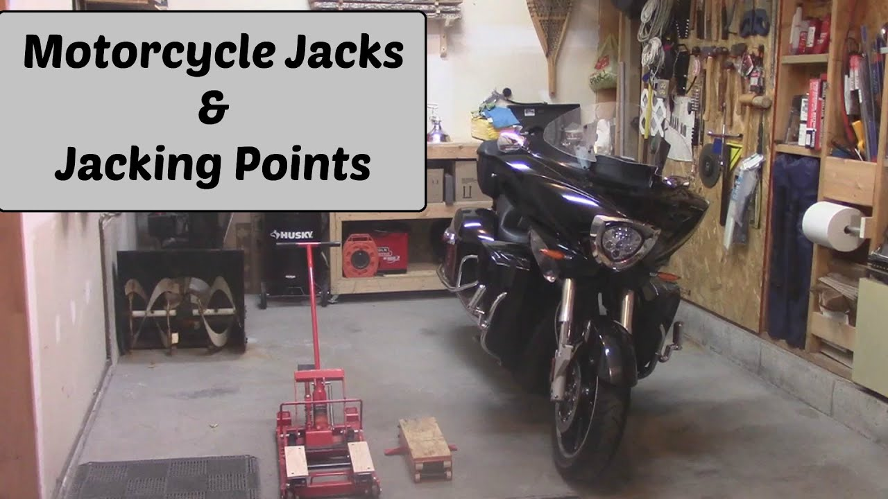 Motorcycle jacks jacking points youtube for How to jack up a motorcycle with a floor jack