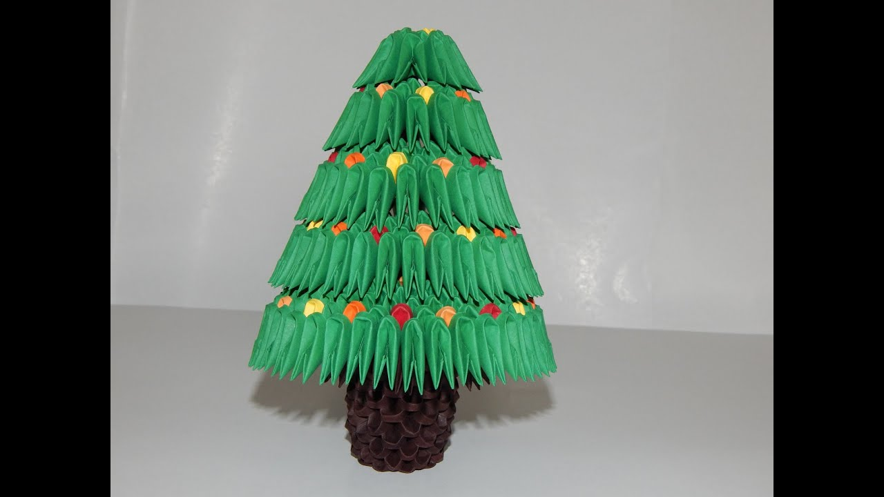 How to make 3d origami Christmas tree model 2 part 2 - YouTube - photo#15