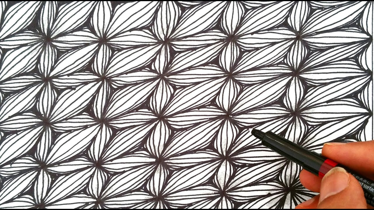 How To Draw A Easy Flower Optical Illusion Pattern