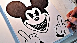 How To Draw EVIL MICKEY MOUSE