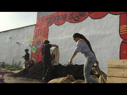 BK ROT Compost Windrow Build at The Good Life Garden