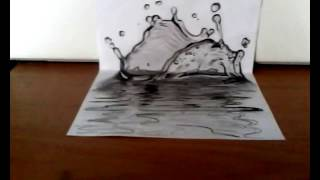 Dibujando un charco de agua ( ilusión optica) | Drawing a puddle of water in 3D