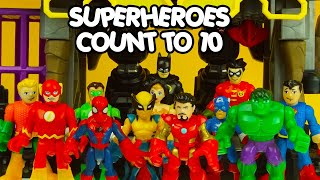 LEARN TO COUNT TO 10 with BATMAN & ROBIN, SPIDERMAN, IRON MAN, SUPERMAN, HULK & more superheroes toy