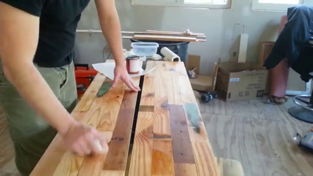 Reclaimed Wood Countertops diy salvaged wood countertop- sealing and therapy - youtube