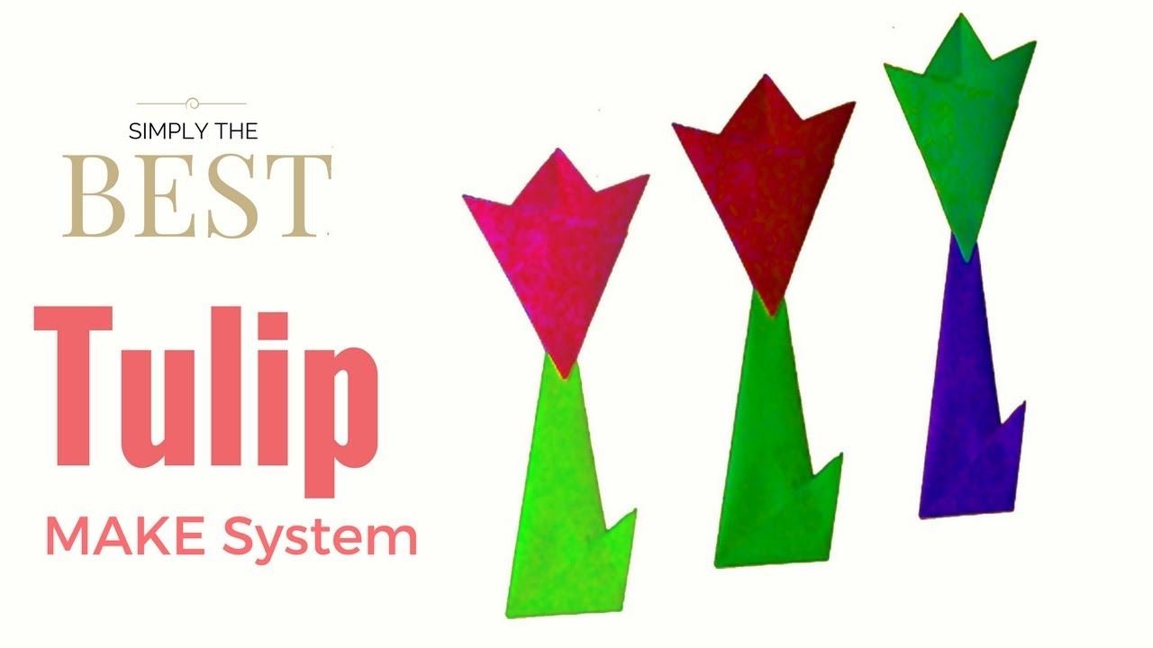 How to make a paper tulip flower with stem and leaf easy origami how to make a paper tulip flower with stem and leaf easy origami dhlflorist Image collections
