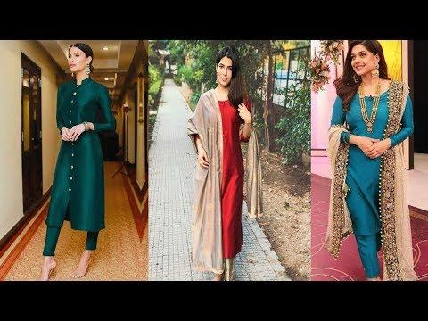 सिल्क कपड़े से इसे प्रकार बनाए सूट|| Stylish Plain Silk Suits Designs Ideas For Wedding Seasons